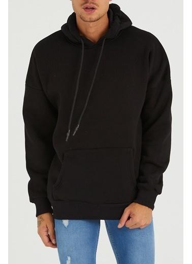 XHAN Siyah Arkası Baskılı Sweatshirt 1Kxe8-44319-02 Siyah